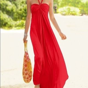 Dresses & Skirts - Red halter top  maxi dress